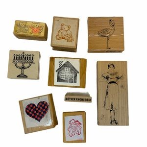 Lot of 9 Rubber Stamps. Bears. Cats. Flamingo